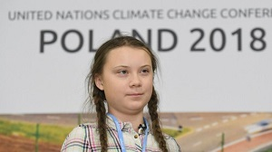 Greta Thurnberg accusing world leaders of not acting on climate change