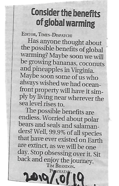 Tim Brandon Richmond Times-Dispatch letter global warming