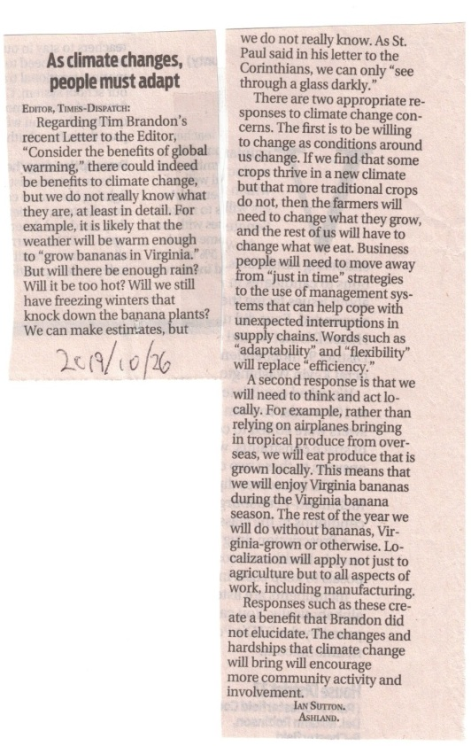 Ian Sutton Richmond Times-Dispatch letter global warming