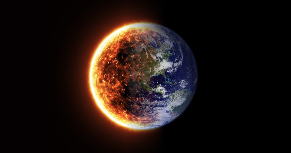 Earth on fire after climate change